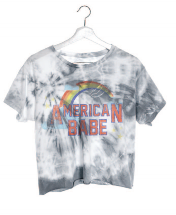 American Babe Cropped Tie Dye Tee