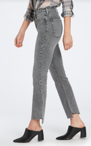 Apollo Charcoal Acid Wash Cropped Flare Denim