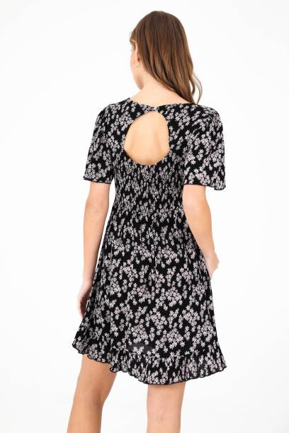 Square Neck Printed Baby Doll Dress