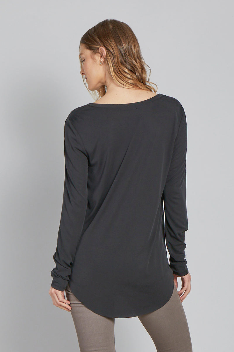 Black Long Sleeve V Neck