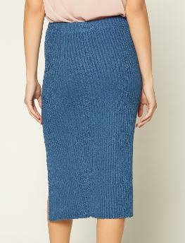 Lapis Blue Midi Sweater Skirt