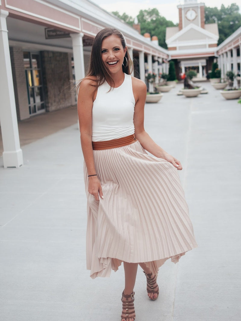 Blush Leather Midi Skirt