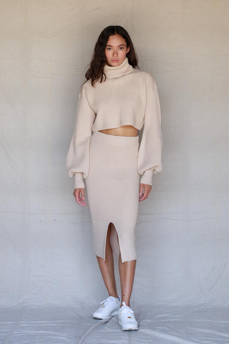 Tan Knit Pencil Skirt