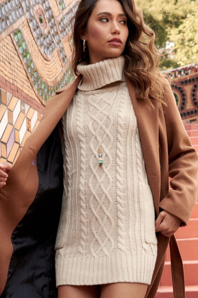 Ivory Cable Sweater Dress