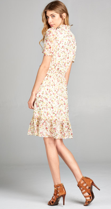 Floral print button up dress