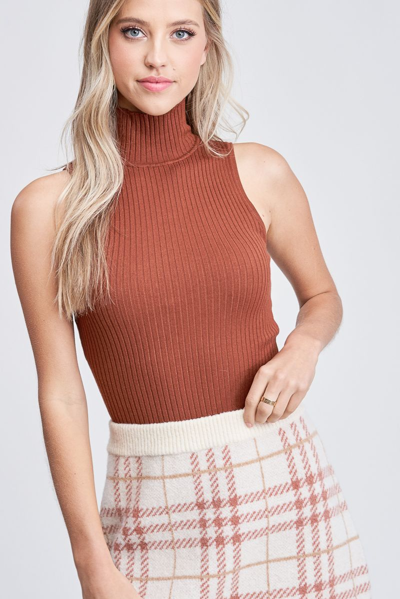 Brown Turtleneck Sleeveless Knit Top