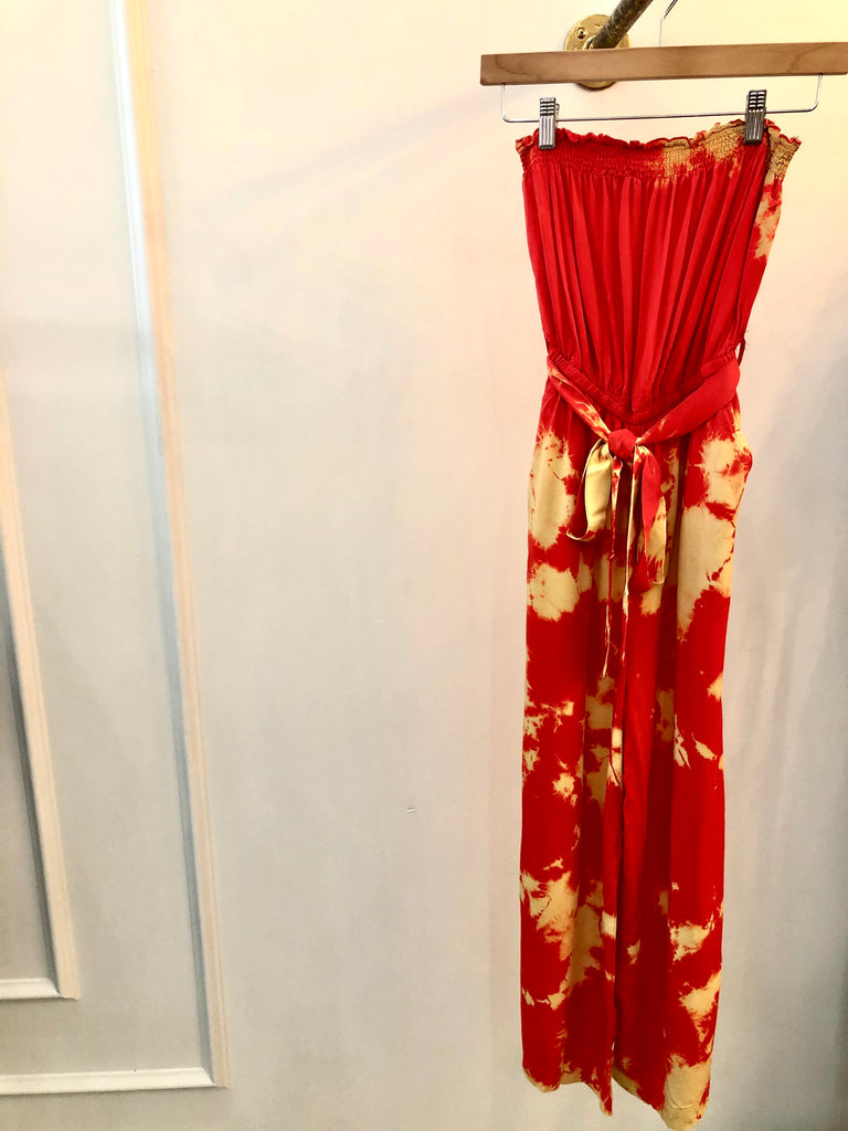 Red and Cream Tie Dye Culotte Jumpsuit