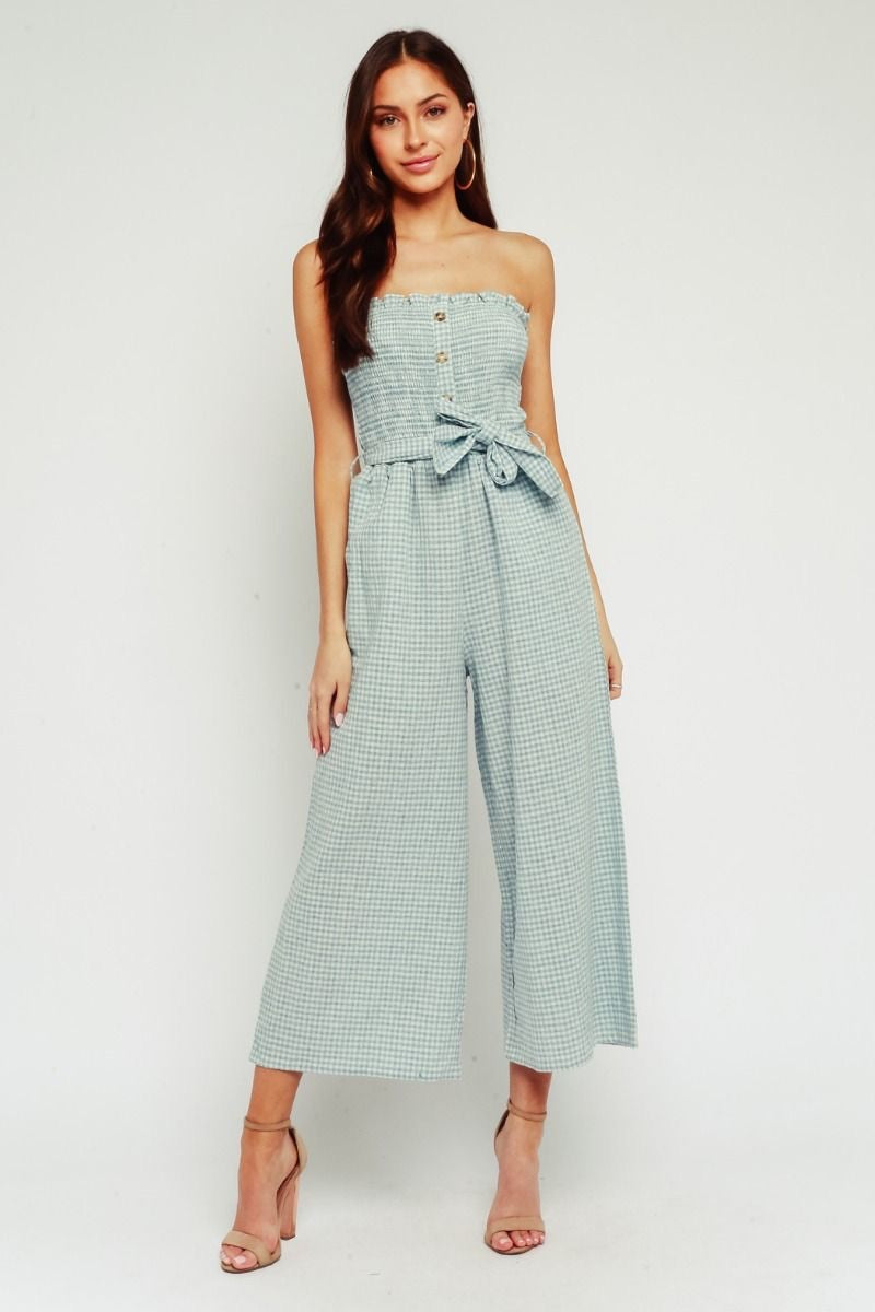 blue gingham jumpsuit