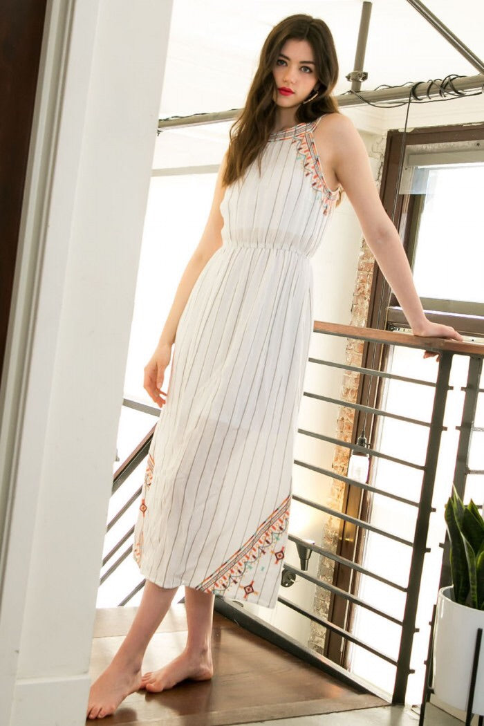 Halter Embroidered Maxi