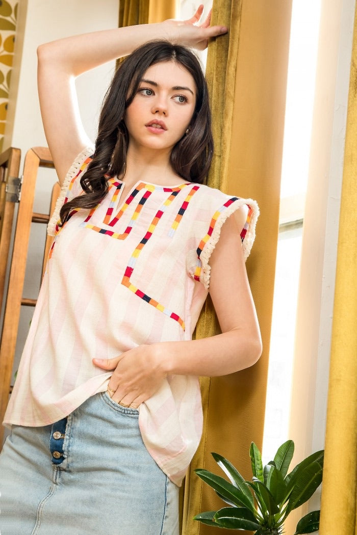 Light Stripe Embroidered Top