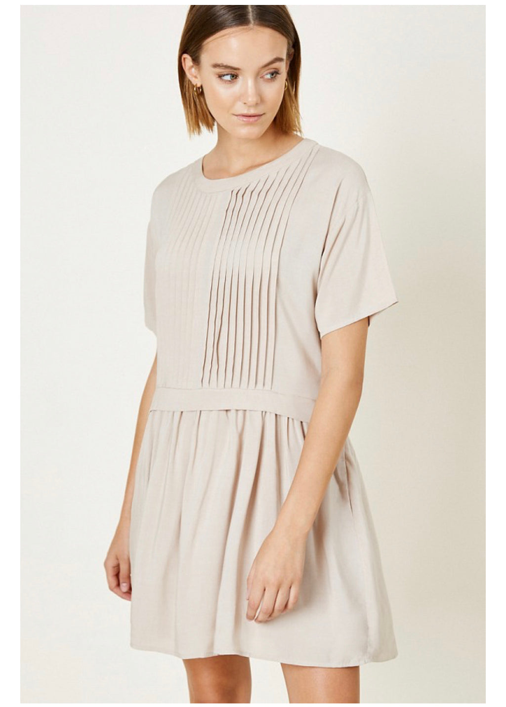 Beige Pleated Tunic Dress