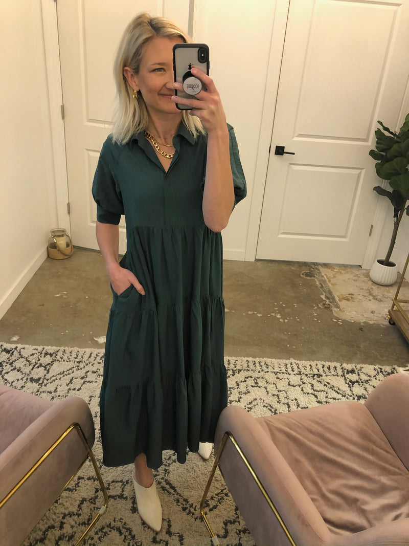 Emerald Tiered Shirt Dress