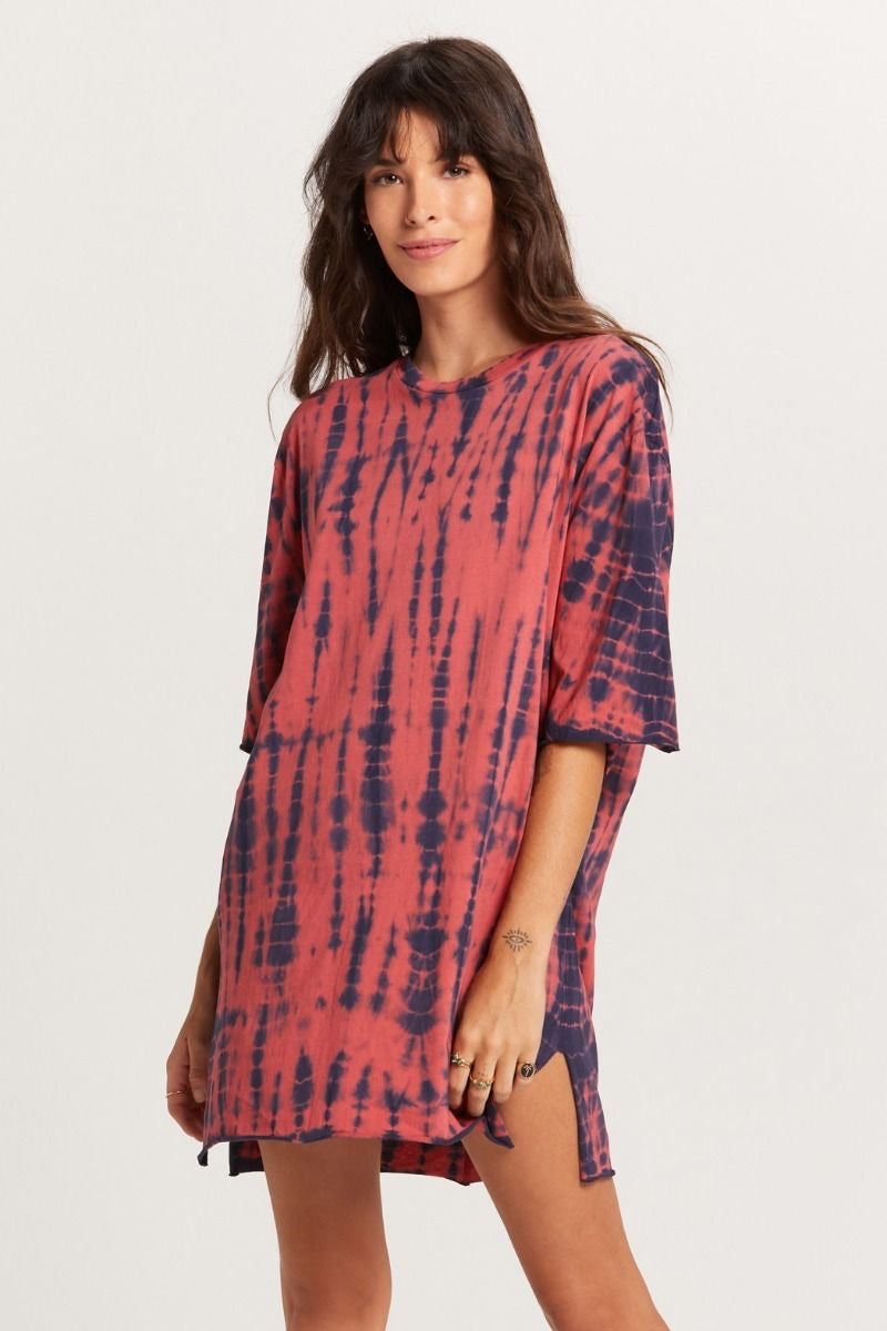 Salmon Navy Tie Dye Dress