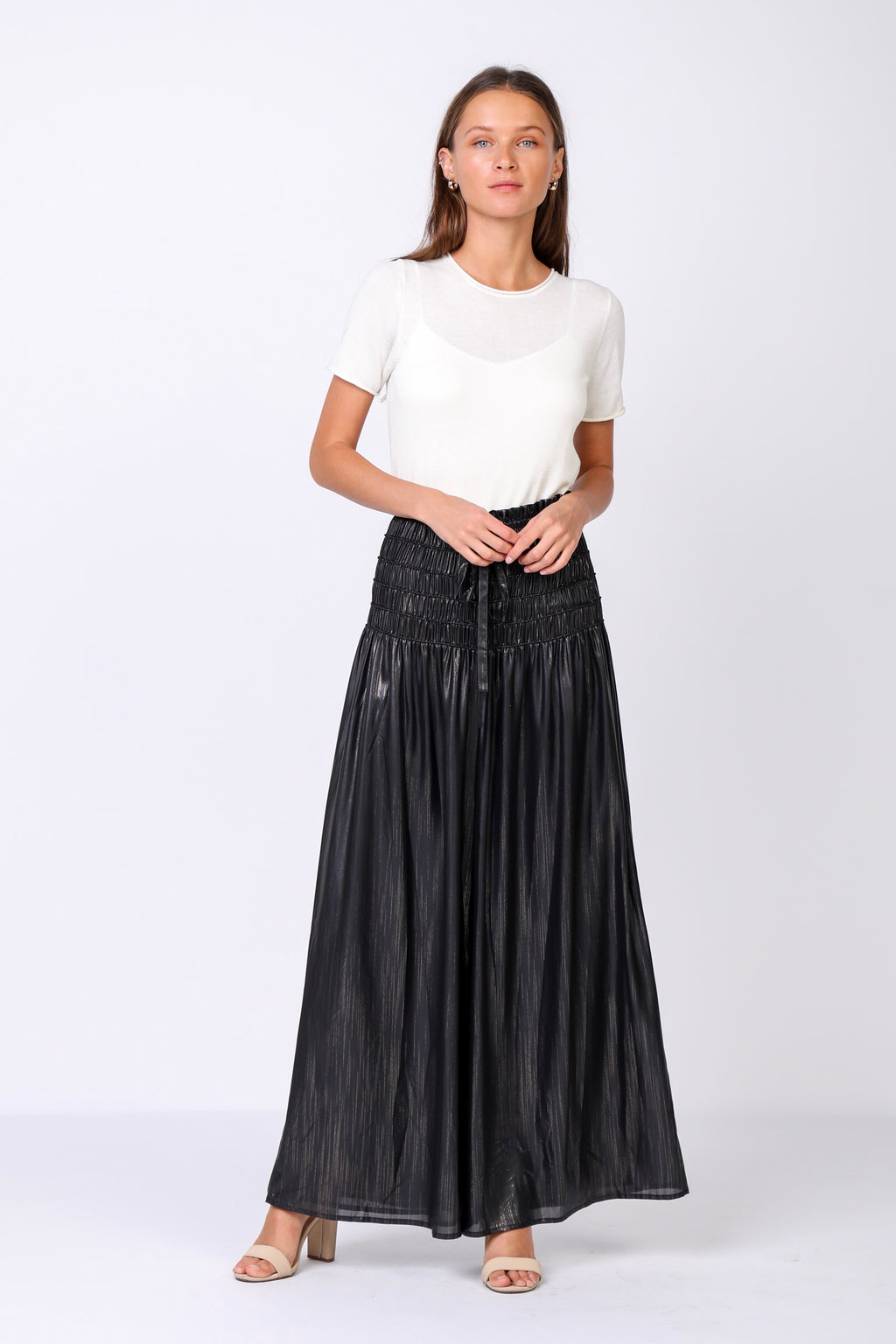 Metallic Maxi Pants