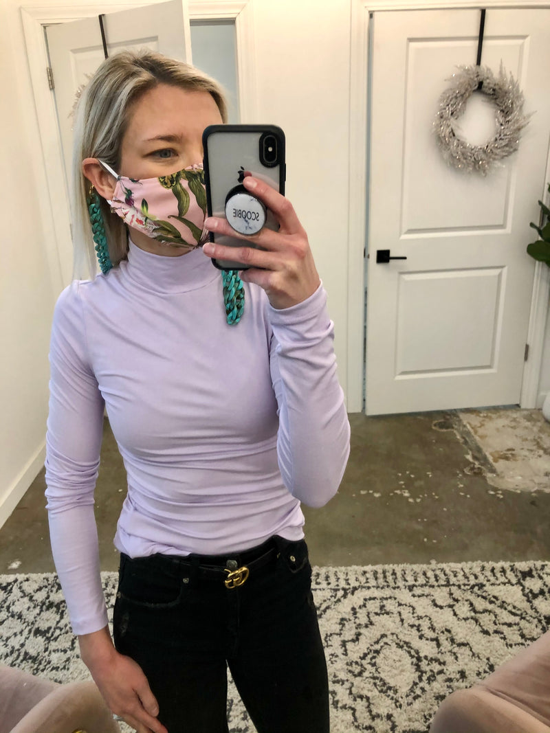 Lilac Turtleneck Top