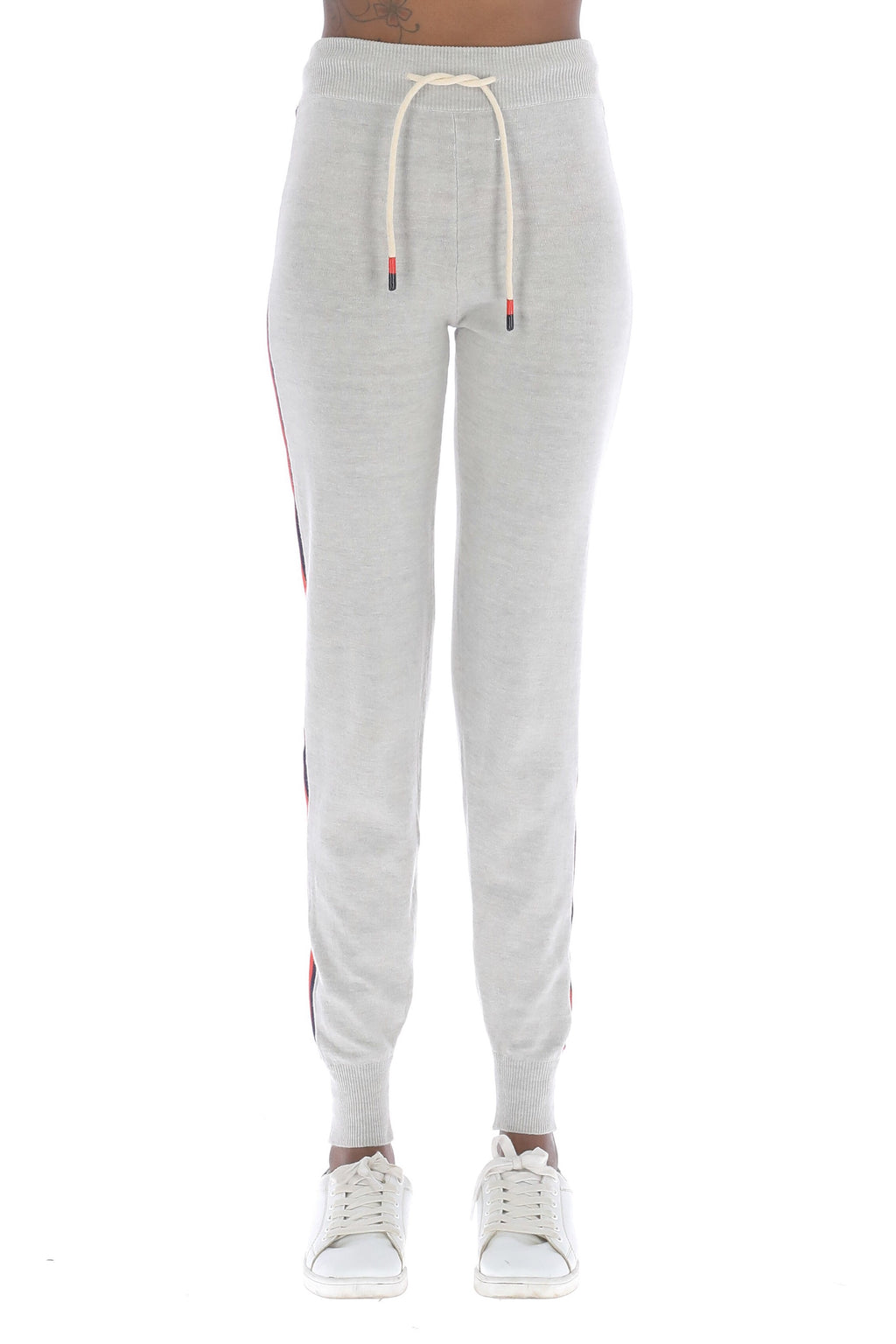 Grey jogger pants with red and navy stripe
