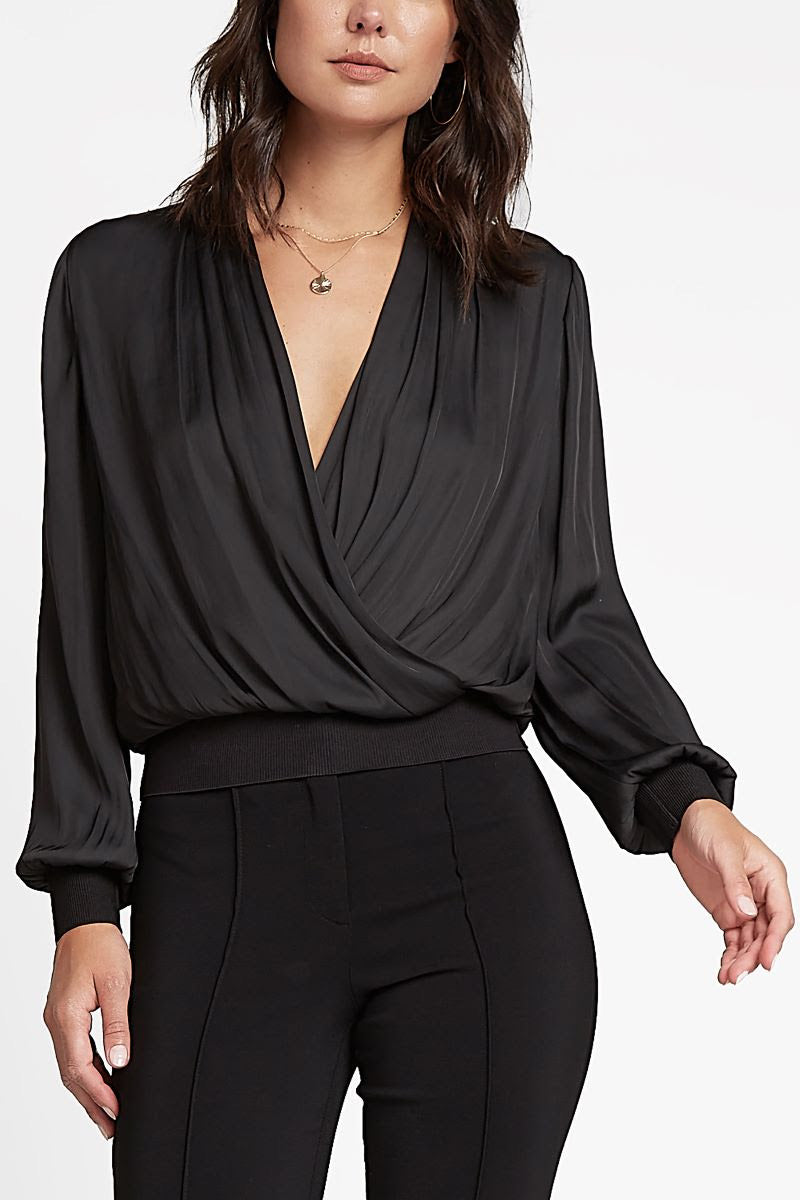 Black Surplice Long Sleeve Blouse