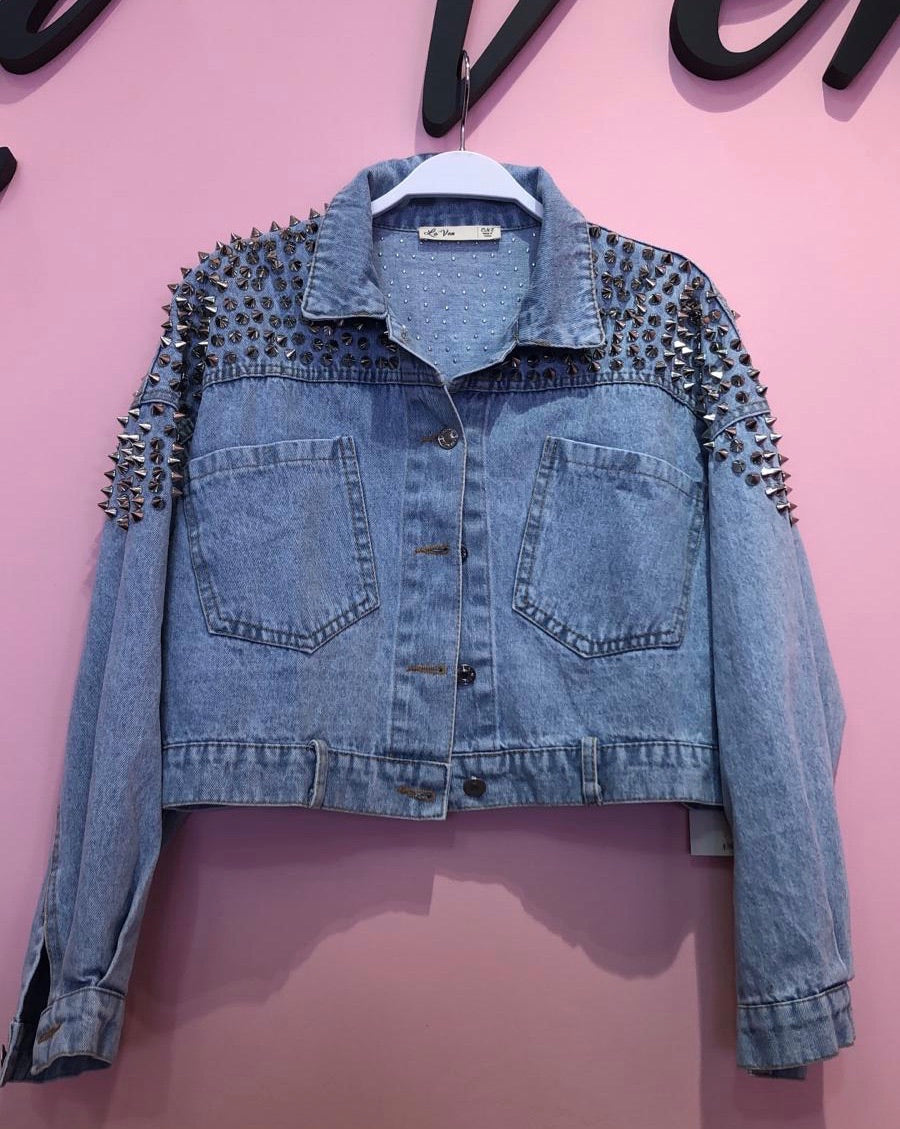 Denim Spiked Jacket