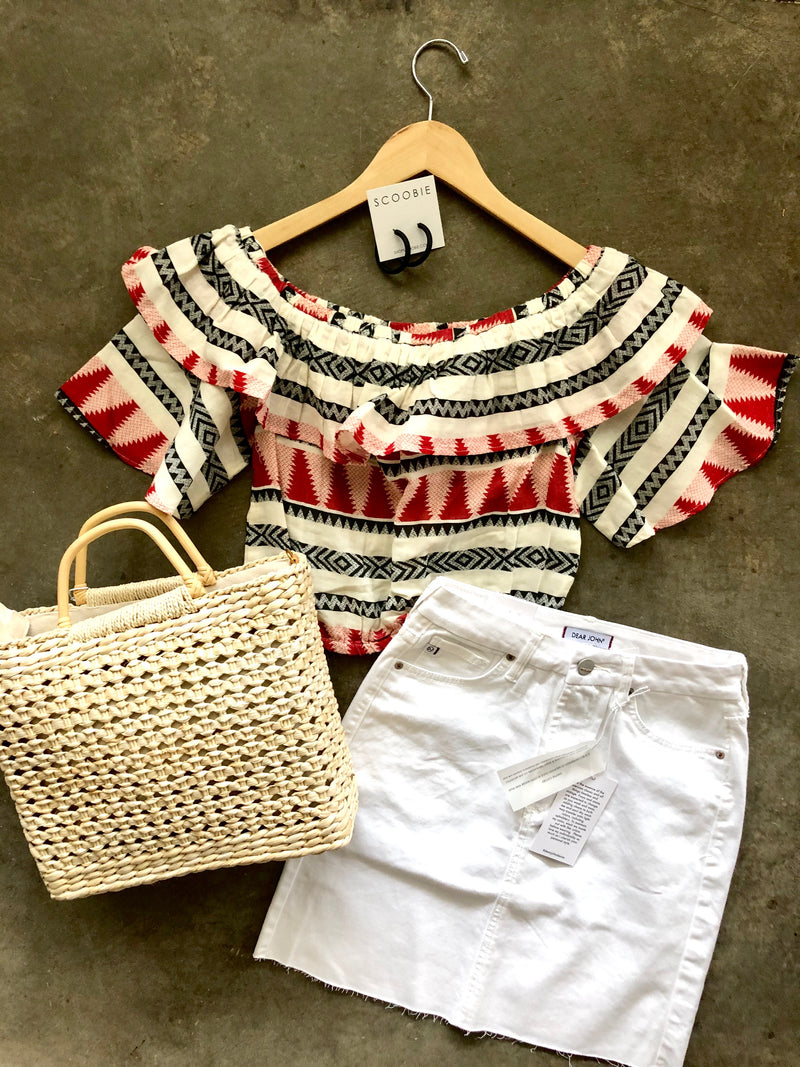 Off Shoulder Aztec Top