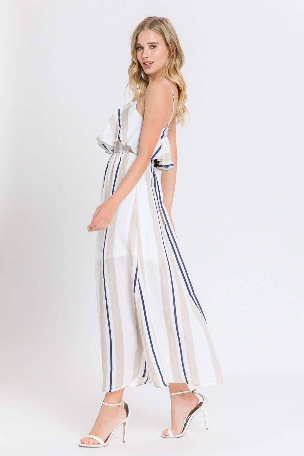 Navy & tan striped maxi dress