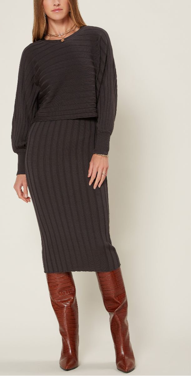 Charcoal Ribbed Sweater Midi