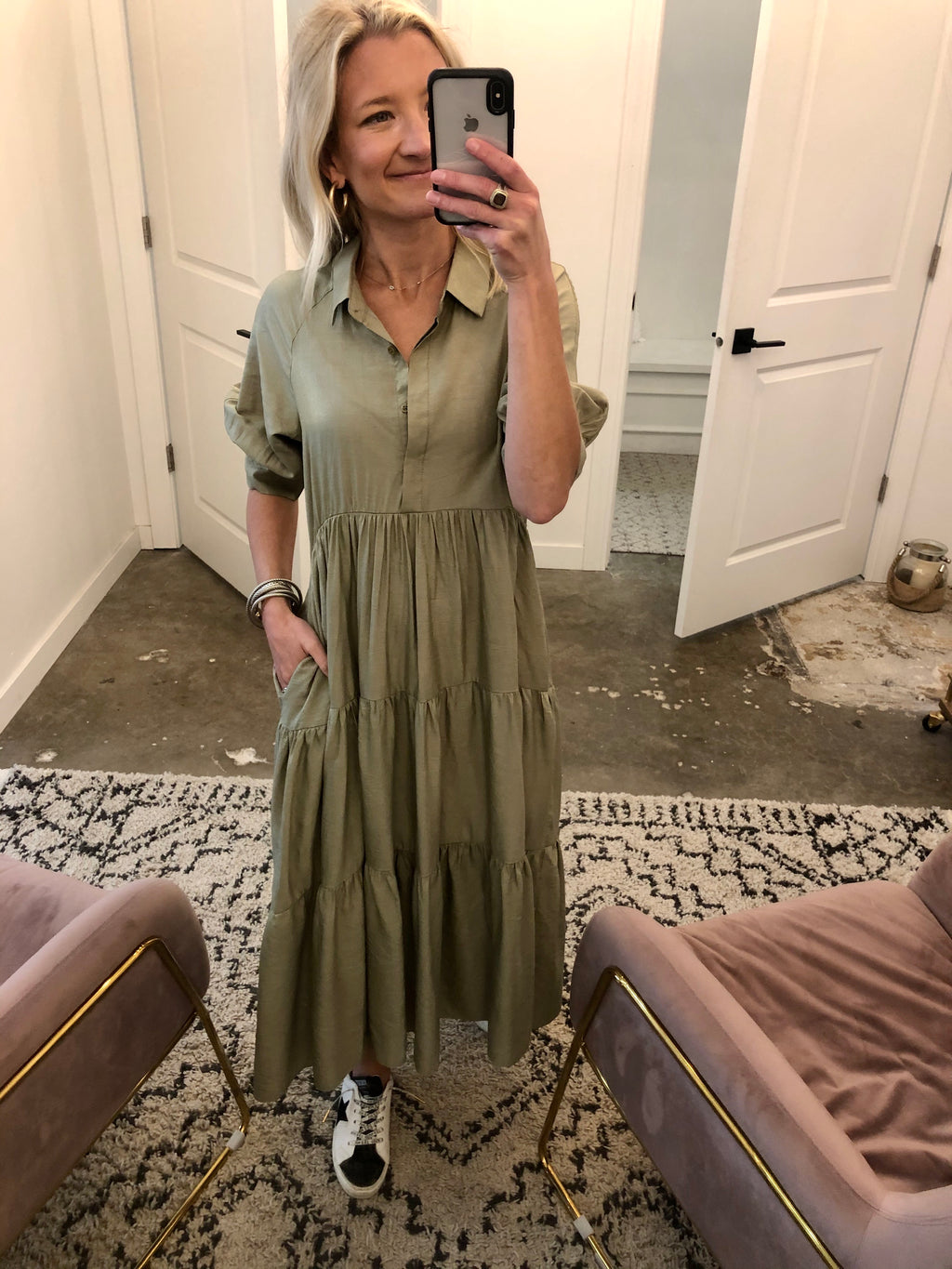 Tiered Shirt Maxi Dress