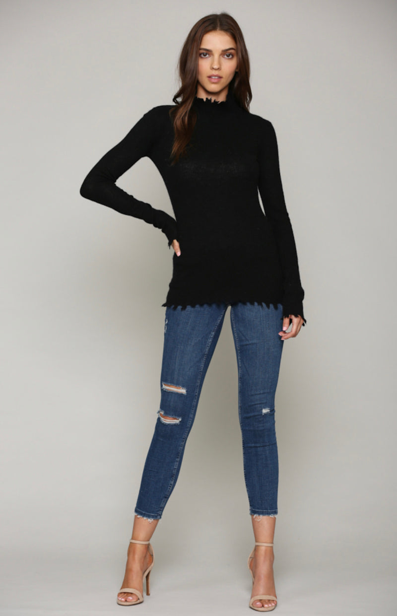 Turtleneck Distressed Sweater