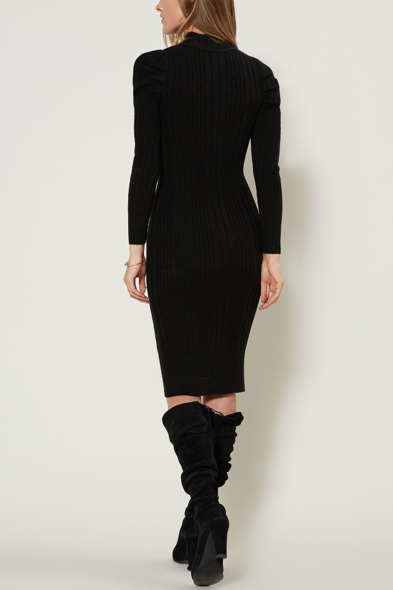 Fitted Sweater Dress with Puff Sleeve