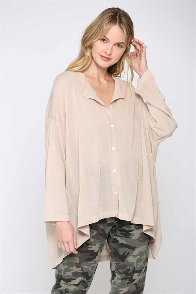 Taupe Flowy Button Up