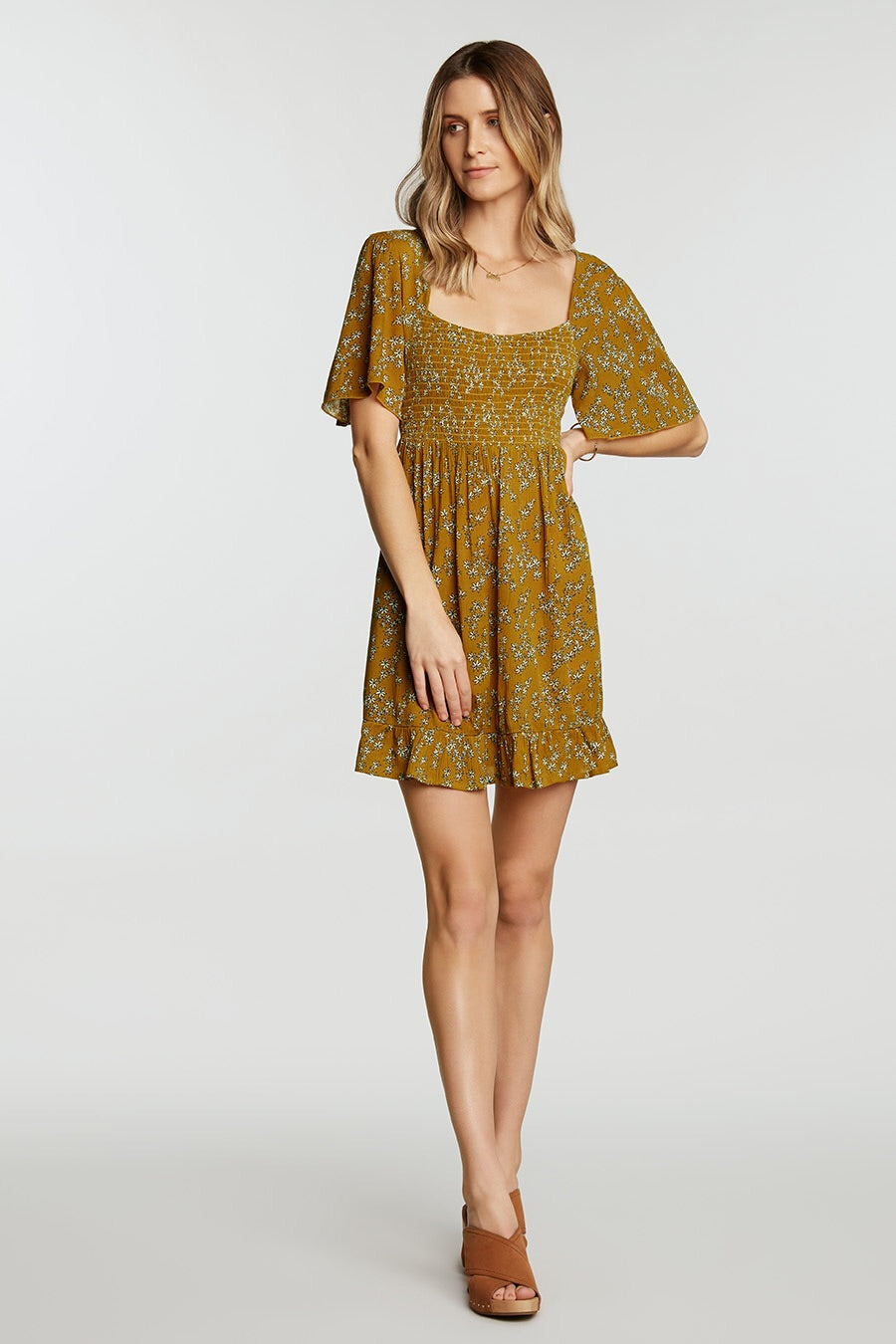 chai square neck dress