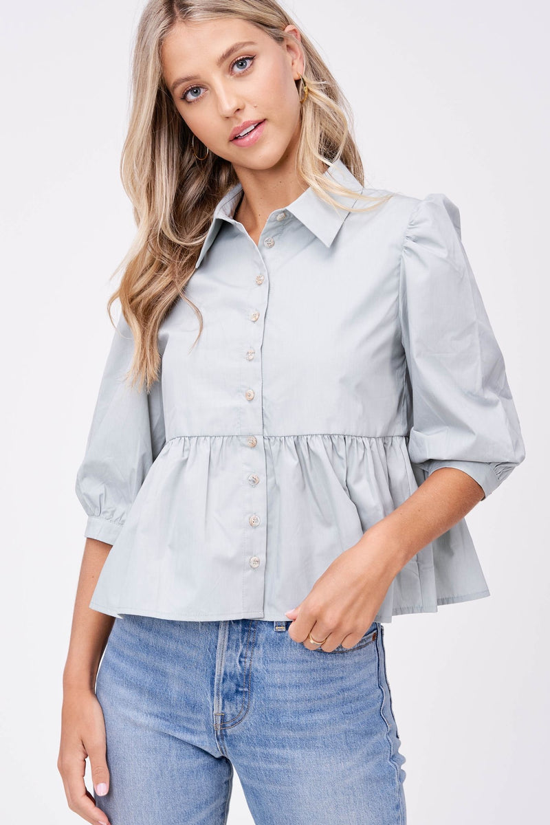 Sage Poplin Button Down