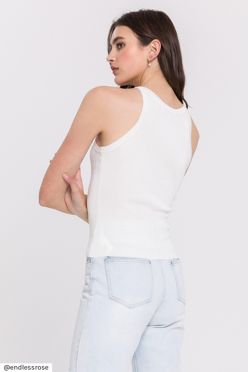 White Knit Basic Tank
