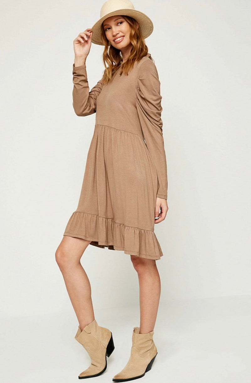 Coffee Tiered Dress