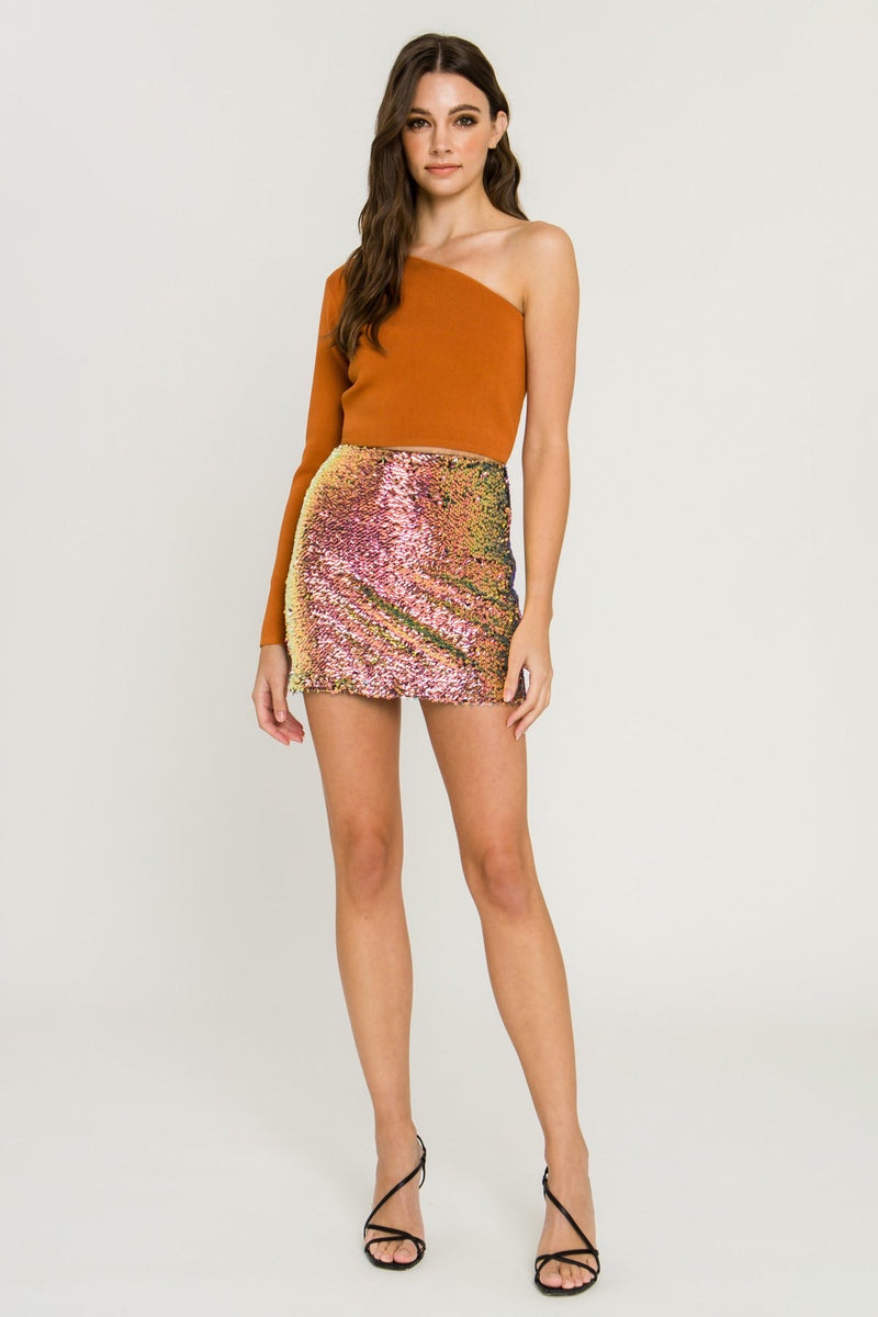 Rose Sequin Mini Skirt