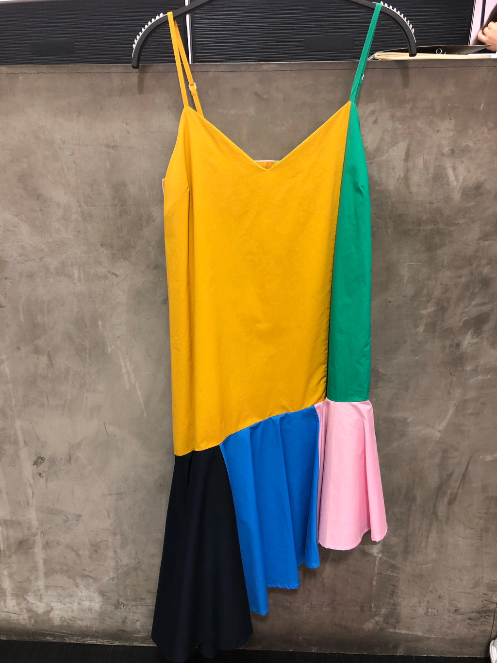 Rainbow color asymmetrical dress