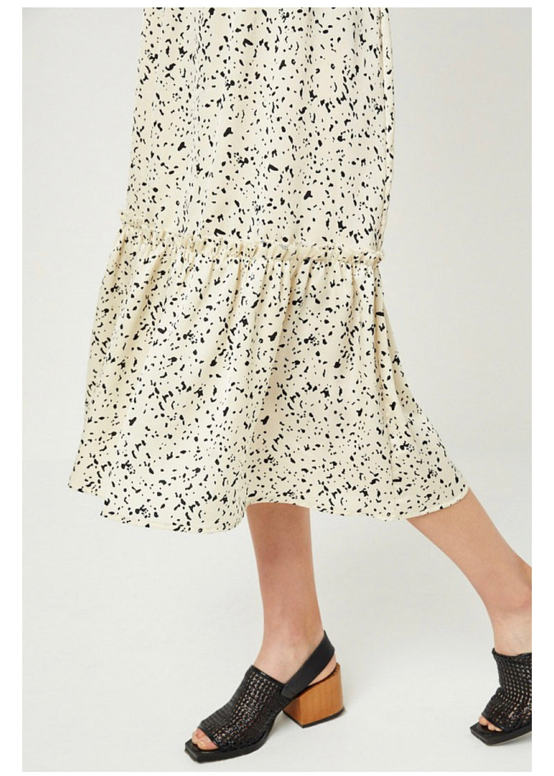 Dotted Ruffle Midi Skirt