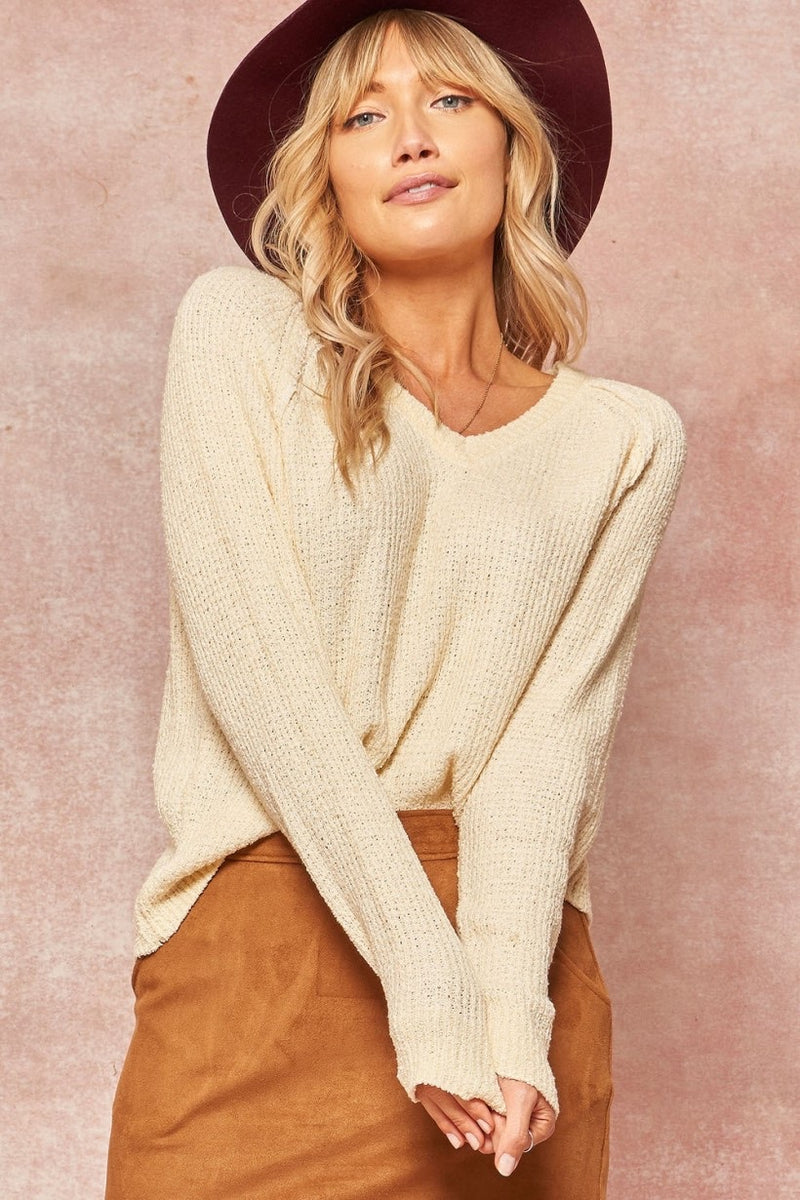 Cream V Neck Sweater