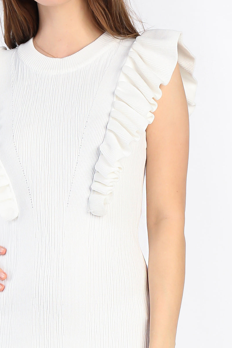 ruffle shoulder midi