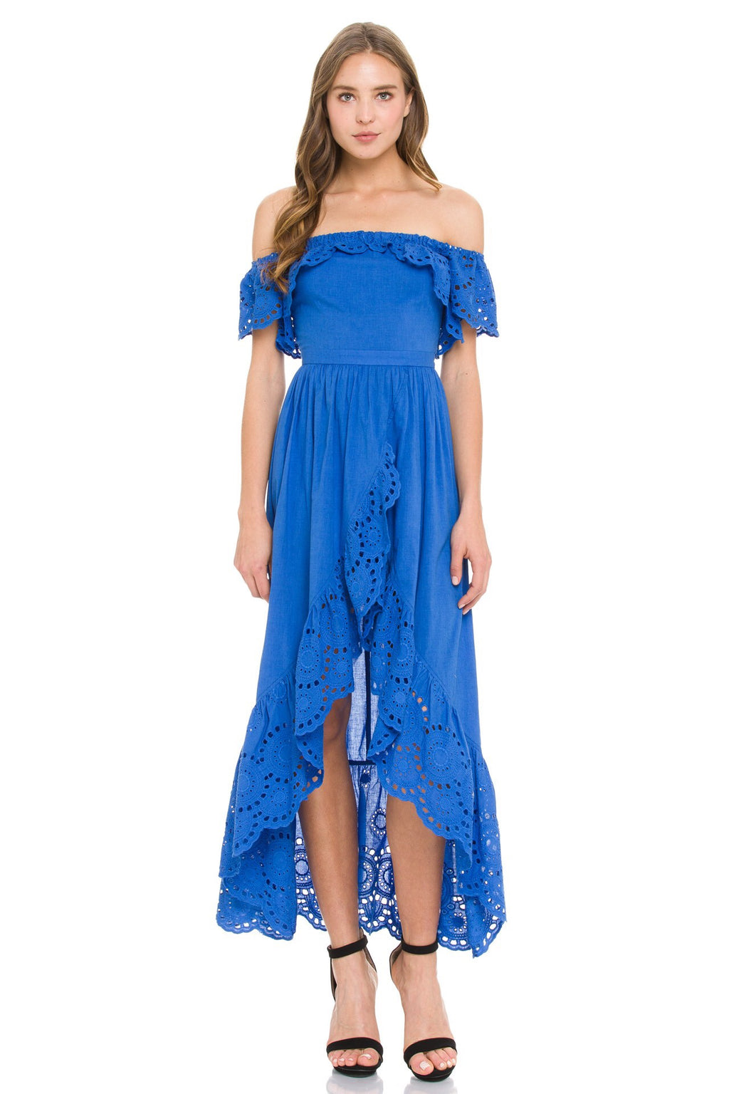 Cobalt blue high low maxi dress