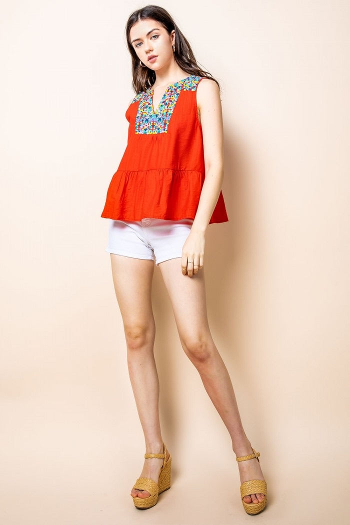 Red Sleeveless Multi Colored Embroidered Top