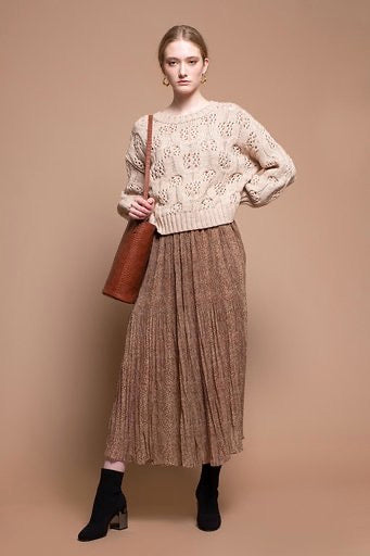 pleated midi skirt snake print