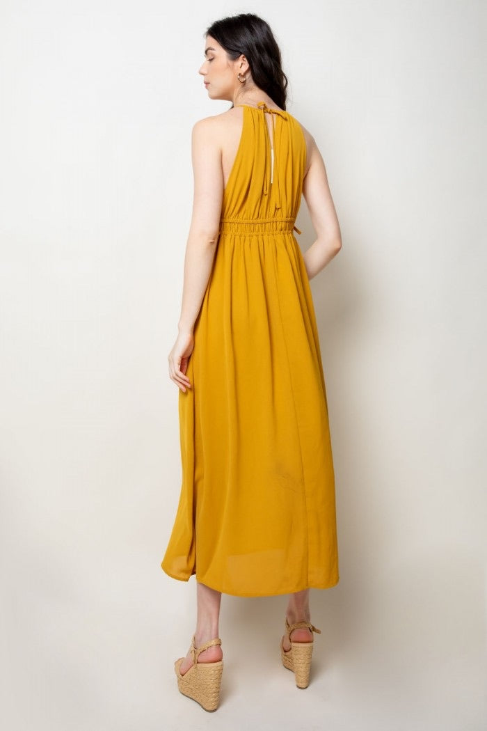 Mustard Embroidered Midi