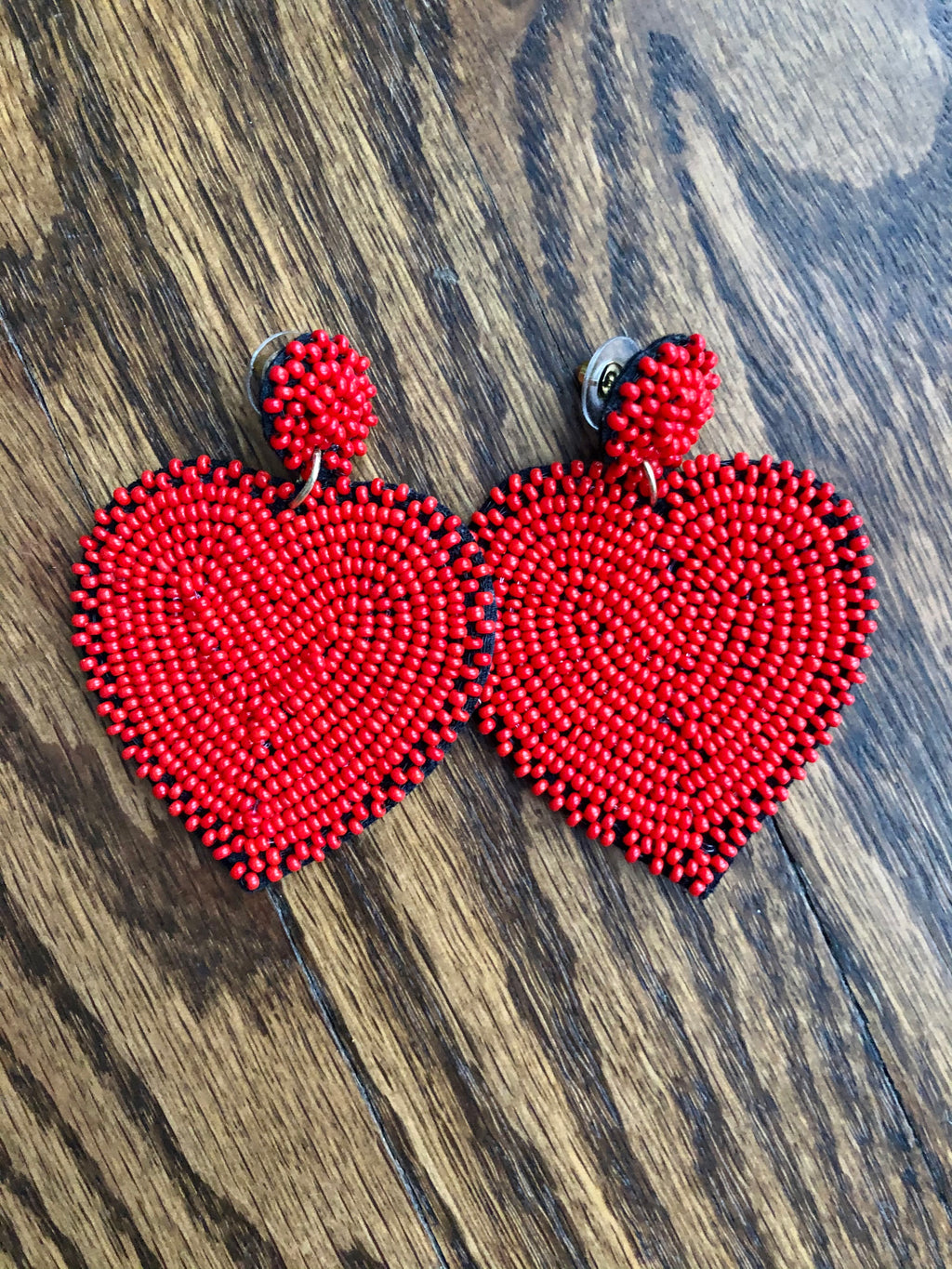 Red Heart Beaded Earring