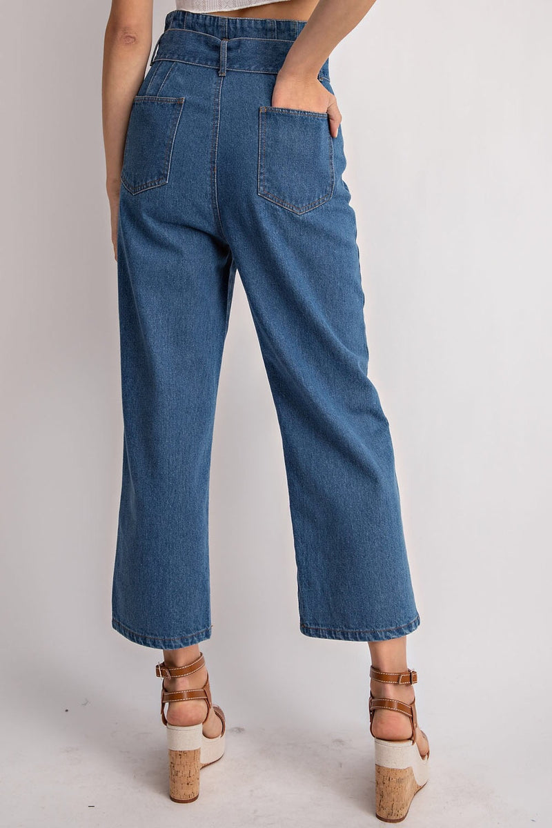 Tie waist denim straight leg pants