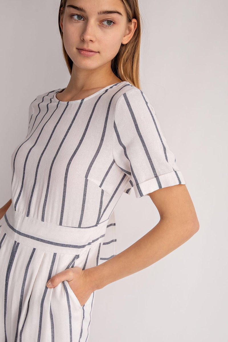 Stripe open back jumpsuit
