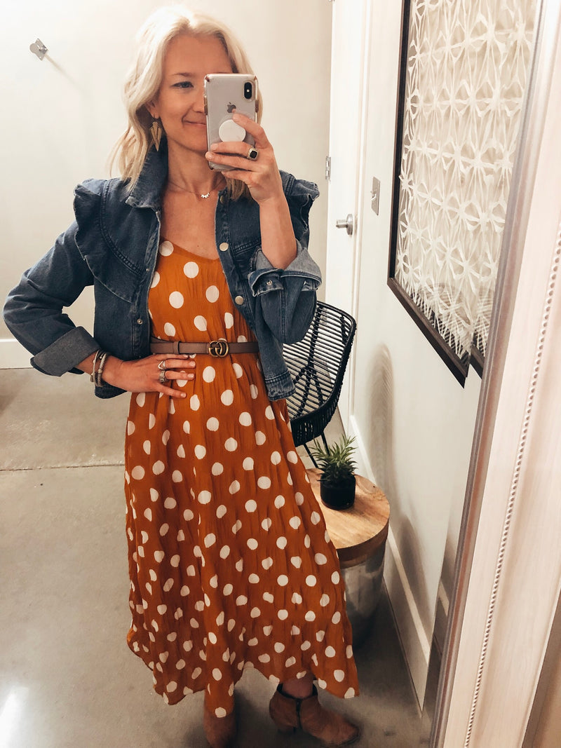 Mustard and white polka do maxi