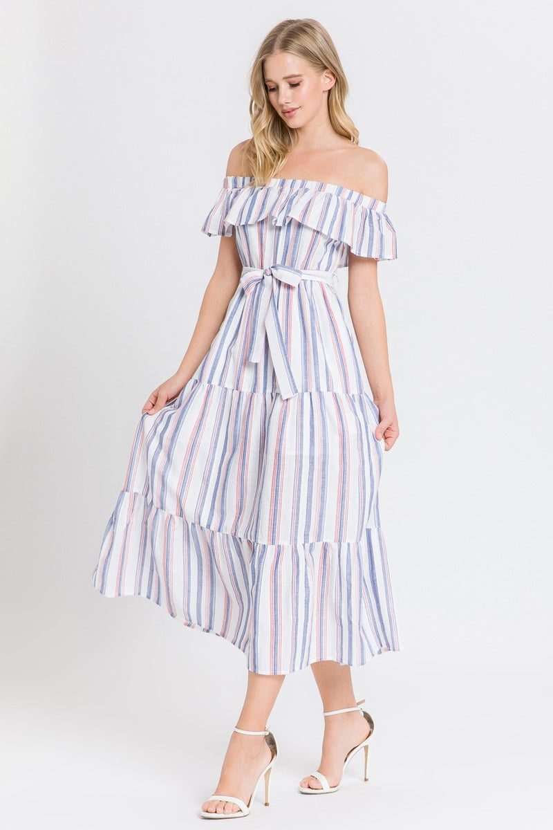 Red and Blue Striped Off the Shoulder Dress