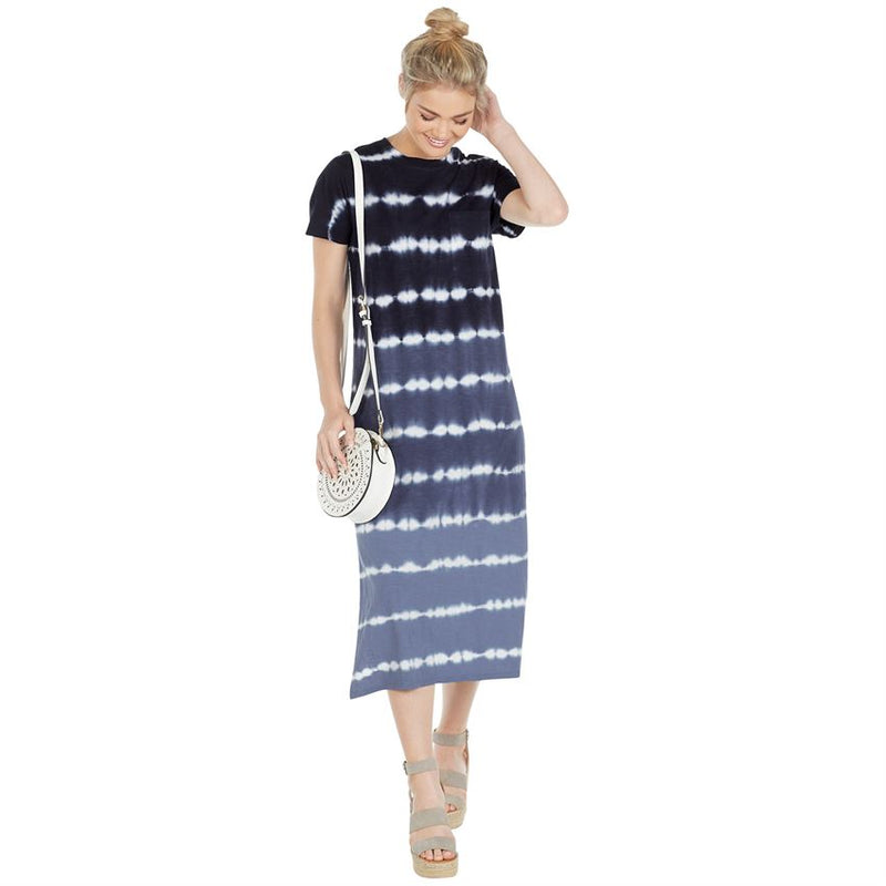 Navy and Blue Tie Dye Dress