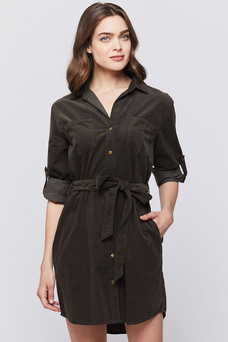 Olive Corduroy Dress