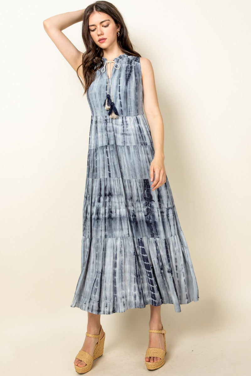 Grey Tie Dye Tiered Midi Dress